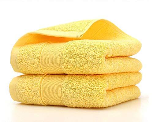 HongLanAo Algodón Toallas de Hotel o Hogar Set 2 Piezas de Lujo Suave y Extra Grueso Altamente y Absorbente Toalla 2 * 170g / 14 * 30 Pulgadas (Amarillo-2 Pack)