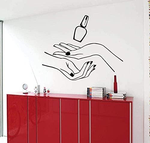 jjyyy Salón de uñas Etiqueta de la Pared Patrón Nail Art Pegatinas de Pared Chica Manicura SPA Vinilo Baño Arte Mural 57X73Cm