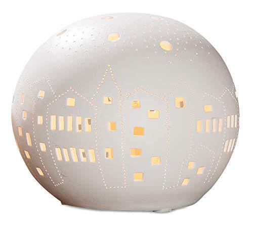 GILDE Lampe Kugel City - aus Porzellan mit Lochmuster im Prickellook Breite 18 cm