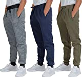 3 Pack: Boys Girls Youth Teen Active Athletic Basic Soft Tech Sports Fleece Jogger Soccer Track Gym Running Slim Fit Tapered Sweatpants Casual French Terry Quick Dry Fit Pockets-Set 1,XL(18/20)