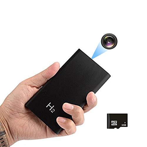 Jiyibidi 1080P 5000mAh portátil oculta Mini Powerbank Cámara pequeña de vigilancia compacta Micro Nanny Cam Cámara de seguridad para interior y exterior (tarjeta de 32 GB incluida)