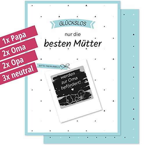 8 RUBBELLOSE WIR BEKOMMEN EIN BABY - du wirst Papa Oma Opa + mehr - Gutschein-Karte für die Schwangerschaft - Geschenk-Idee personalisiert - Glückwunsch Rubbelkarte Schwanger Geburt Post-Karte Set