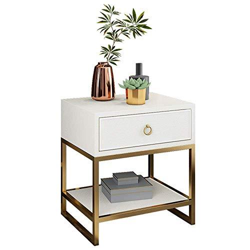 OFAY Bedside Table, White Bedside Table 1 Drawer Modern Bedroom Nightstand Bedside Storage Cabinet Wooden Top Easy to Clean Bedroom Living Room