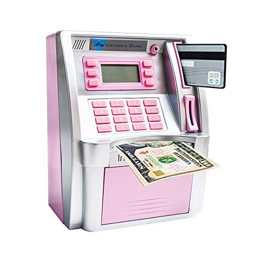 LB ATM Savings Bank Electronic Mini ATM Piggy Bank Cash Coin Educational ATM Machine for Birthday Gift