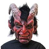 WSJDJ Erwachsene Ziege Gehörnte Teufel Schädel-Maske Scary Latex Kopf voller Horror Halloween-Masken Deluxe Karneval Cosplay Vampire Requisiten Kostüme,Monster-OneSize