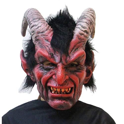 WSJDJ Adulto Cabra de Cuernos del cráneo del Diablo máscara de Miedo de Terror látex Cabeza Completa Máscaras de Halloween Deluxe Cosplay Carnival Vampiro Atrezzo Trajes