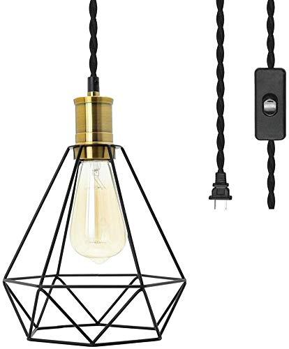 Lámpara colgante vintage con interruptor y enchufe, retro industrial de metal jaula lámpara colgante con 5 m de cable de tela lámpara de techo AC220 V E27