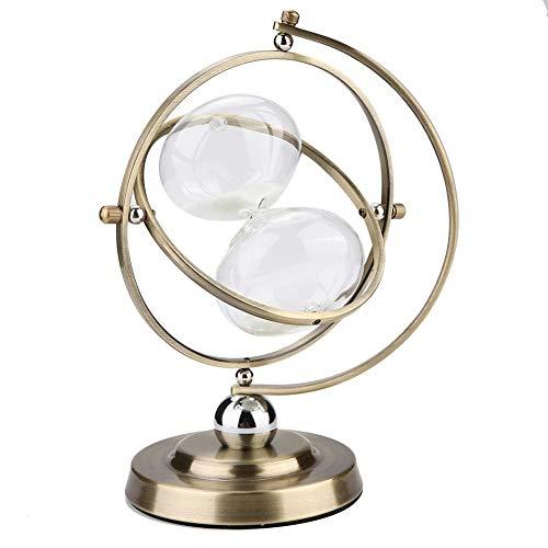 Reloj de arena giratorio de metal dorado de 15 minutos, reloj de arena clásico de reloj de arena Temporizador de vino en la sala de estar, dormitorio, oficina, la mejor opción de regalo para Halloween