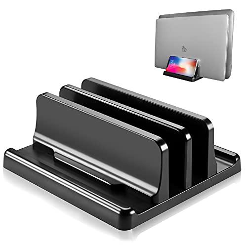 ノートpc スタンド 縦置き 2台 収納 ノートパソコン PCホルダー 机 整理 ABS樹脂製 傷つかない 電波干渉なし mac book ipad iphone キーボード 同時収納 幅調整可 (ブラック) (黒-2台収納版)