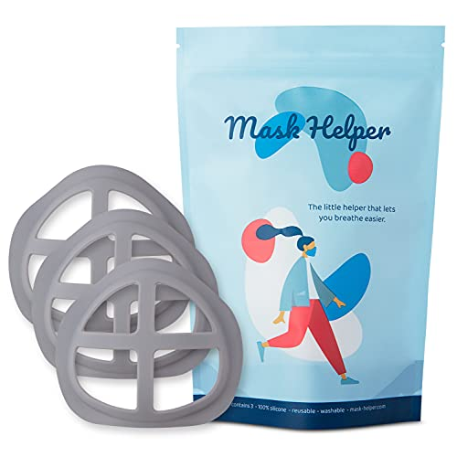 MASK HELPER | Soft Silicone Face Mask Inner Support Frame. Mask Bracket Inserts for Extra Space and Comfortable Breathing Room. Protects Makeup and Lipstick. Washable + Reusable (Size-Adult)