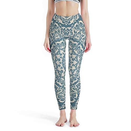 XJJ88 -Indian Style Broek Strakke Ankles Vrouwen, Mandala Leggings Depot Joggers Teal Mandala Patronen Print Hoge Taille Print Leggings Capris voor Vrouwen
