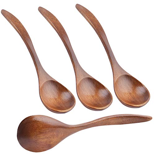Natural Wooden Spoons, 4pcs Wooden Eating Spoon Soup Spoons Teaspoon Serving Spoons for Coffee Tea Jam Salts - 7.3 Inches