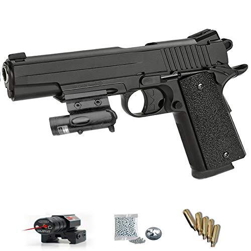KWC 1911 GSR Láser - Pack Pistola de Aire comprimido (CO2) y balines de Acero (perdigones BBS) Calibre 4.5mm. Réplica Tipo Colt <3,5J