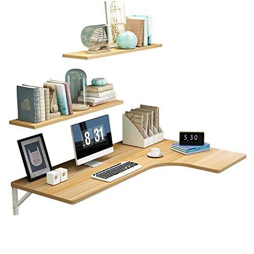 ZYQDRZ Bureau D'ordinateur Pliant d'angle, Table à Manger Murale du Sol Au Plafond Et établi, Y Compris étagère,Beige,80 * 70 * 50cm/31 * 28 * 20in