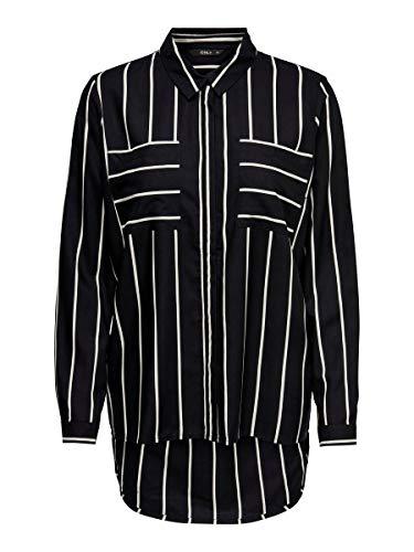 ONLY Damen Onlfreya L/S Wvn Noos T Shirt, Black 3, 40 EU