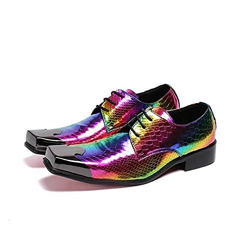 Lilac Fower Shop Lamp Zapatos para Hombres Color Negro Transpirable Antideslizante Aumentado con Cordones De Punta Cuadrada Zapatos De Cuero (Color : Multi-Colored, Size : 42)