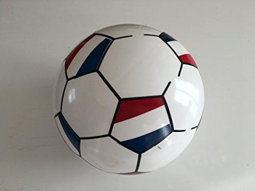 Ballon de football pour enfant tricolore bleu-blanc-rouge gonflable en plastique diamètre 20 cm. Aiguille de gonflage adaptable à toute pompe incluse