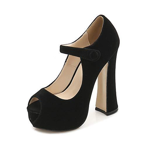 Women's Peep Toe Hidden Platform Ankle Strap Chunky Heel Pumps Velvet Black Tag 43 - US B(M) 10.5
