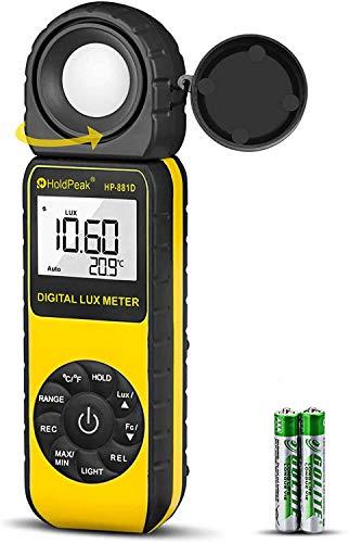 HOLDPEAK 881D Medidor Digital de luz iluminancia,Luxmeter con Retención de Datos,Pantalla LCD Retroiluminación y Retención de Picos,Rango:0,1-400,000 Lux(1-40,000 FC)