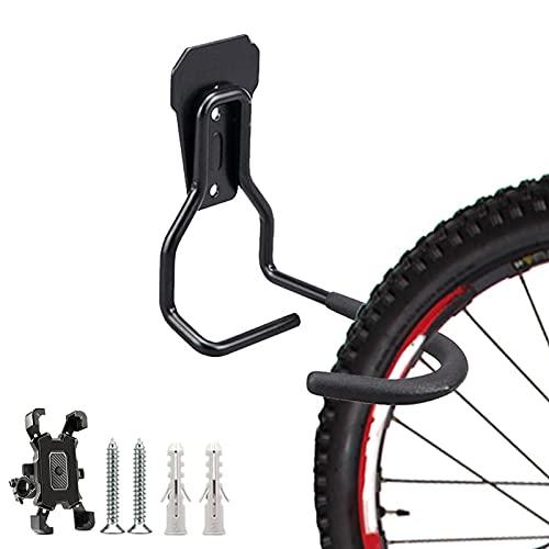 Soporte Bicicletas Pared Gancho para Bici Carretera MTB Suspensión de Pared para Bicicleta con Soporte para Teléfono Móvil, Soporte de Pared para Bici No lastima el Marco Ahorra Espacio