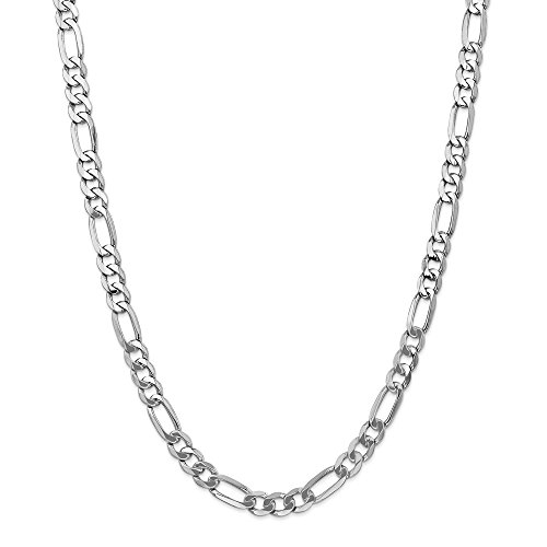 14k White Gold 7mm Flat Link Figaro Chain Necklace 24 Inch Pendant Charm Fine Jewellery For Women Gifts For Her