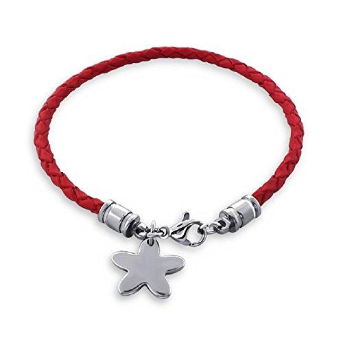 Laimons Pulsera de cuero Placa con forma de estrella para grabar Rojo acero inoxidable