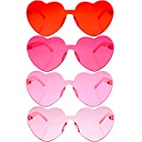 4 Pieces Valentines Heart Shaped Rimless Sunglasses Transparent Frameless Glasses Tinted Eyewear for Valentines Party Cosplay(Red, Rose Red, Pink, Light Pink)