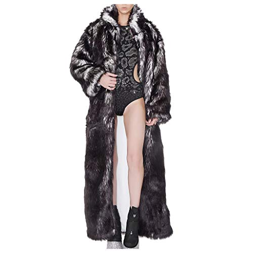 CapsA Womens Led Light UP Luminous Faux Fur Nightclub Rave Christmas Long Coat Costumes Outwear Overcoat Christmas Party T-Show (Gray, M)