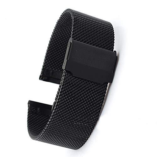 IWILCS - Correa de reloj para hombre de acero inoxidable, correa de repuesto, correa de malla de acero inoxidable, correa de metal, color negro, 22 mm