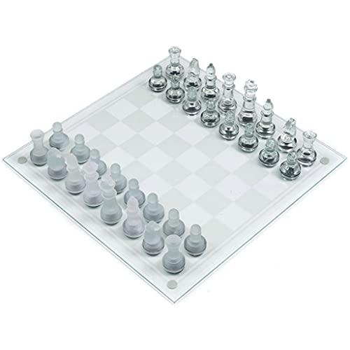 ajedrez Juego De Ajedrez De Vidrio - Juego De Placa De 9,8 Pulgadas -Transparentes con Piezas De Ajedrez Frostadas Y Claras Juego de ajedrez (Color : Large 35cm/13.7inch)