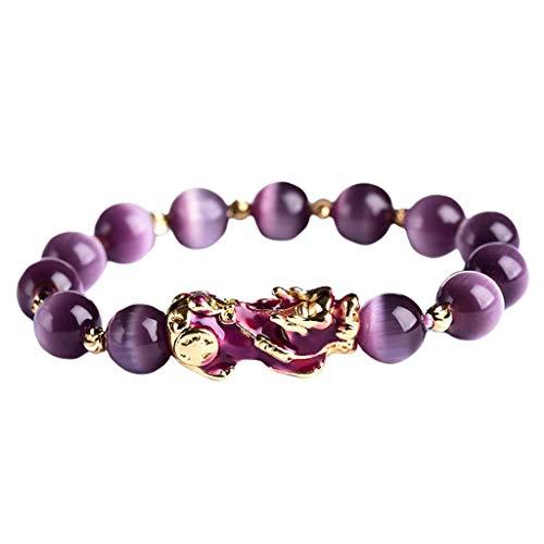 freneci Pulsera PIXIU Púrpura para Mujeres Y Hombres, Trae Suerte, Valiente Riqueza, Feng Shui,...