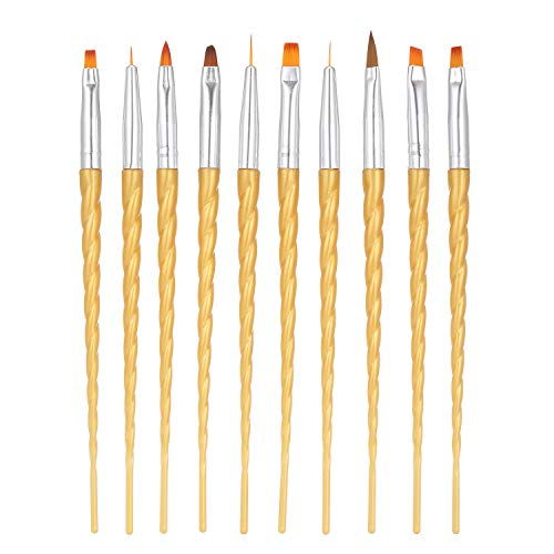 Anself 10pcs / set Nail Art Brush Kit De Uñas Pincel UV Gel Nail Builder Pintura Dibujo Pen Brush