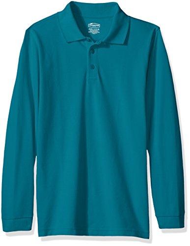 Classroom School Uniforms Kids Big Boys' Uniform Long Sleeve Pique Polo, Teal, L