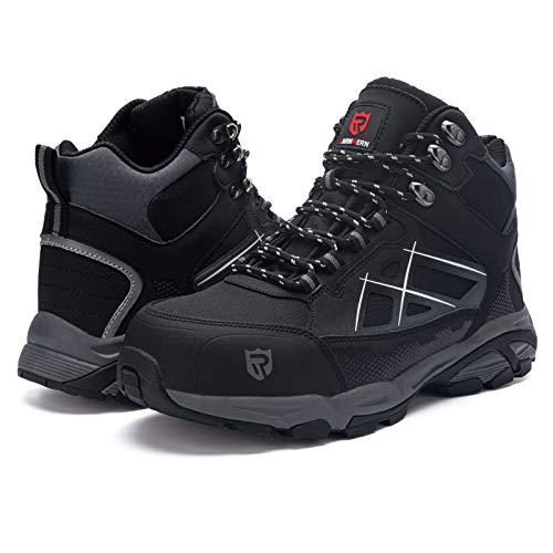RatenKont Zapatos de seguridad con punta de acero para hombre, botas de trabajo protectoras estáticas antigolpes transpirables ligeras Black2(TOP) 43