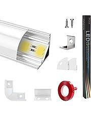 Estiwe Led-profiel, 1 m, 15 stuks, aluminium profielen, V-vorm 45°, dikke aluminium kanalen, voor LED-strips 1-12mm, aluminium profiel, zilver, met 3M lijm metalen bevestigingsclips 90° hoekverbindingen (15x1m)