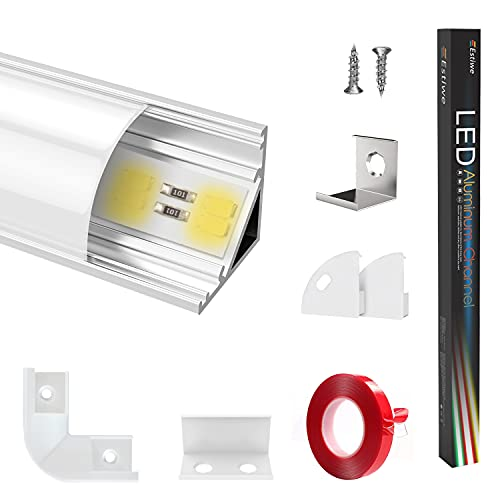 Led profil aluminium profile 5X1m V-Form 45°,Aluprofil Verdicken,Silber,alu lichtleiste,Aluminiumkanäle für LED-Streifen1-12mm,Mit 3M Klebstoff,Metall Befestigungs Clips,90° Eckverbinder(5-Pack)Estiwe
