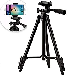 Robiless Dimensional Head Foldable Camera Tripod Stand with Mobile Clip Holder Bracket for Tiktok Video (3120 Tripod)