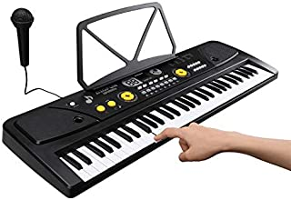 $69 » TRUSBER XDM-7301C 61 Key Music Electronic Keyboard Piano Keyboard with Bulit-in Speaker Microphone,Sheet Music Stand,16 To...