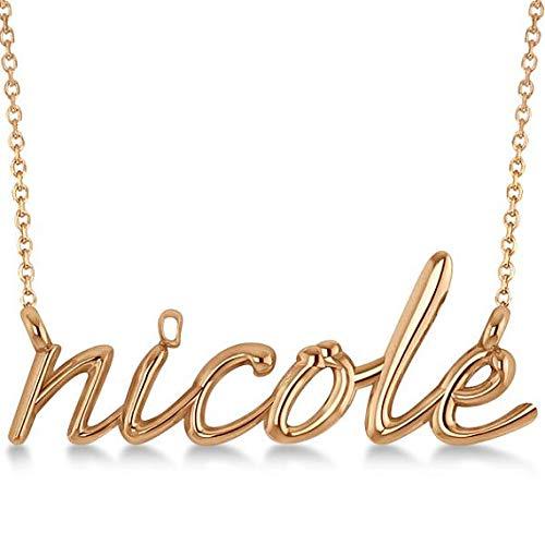 Script personalizzato Nome pendente Collana con pendente in oro massiccio 14k, pendente personalizzato