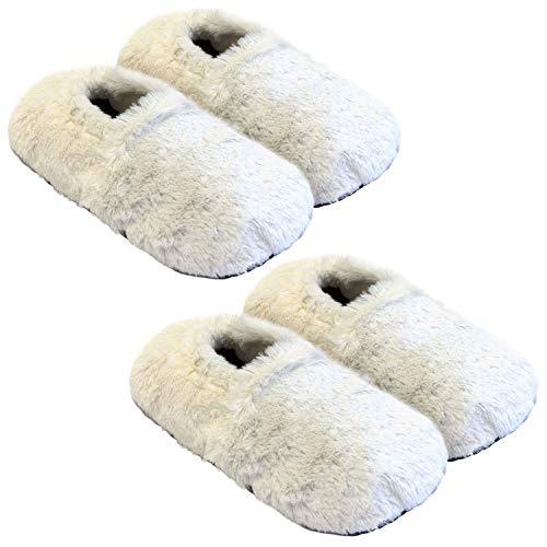 Thermo Sox 2 Paar aufheizbare Hausschuhe Gr M 36-40 Cremeweiß Körnerpantoffeln für Mikrowelle und Ofen - Mikrowellenhausschuhe Wärmepantoffeln Wärmehausschuhe Supersoft
