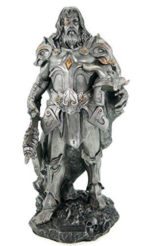 Vogler Odin Allvater germanischer Gott mit Axt und Rüstung silberfarben Freya Figur