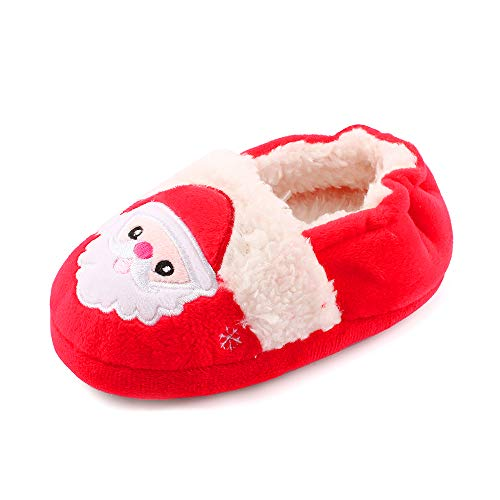 MASOCIO Chausson Enfant Garcon Fille Pantoufles Chaud Peluche Chaussure Antiderapant Père Noël Taille 22 23