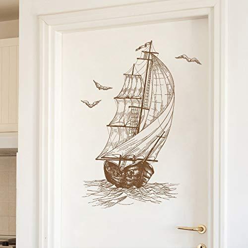 KATTERS Segelboot Wandaufkleber Skizze Home Decoration für Tür Wand Wohnzimmer Schlafzimmer Vinyl Decals Einfache PVC Wandtattoos