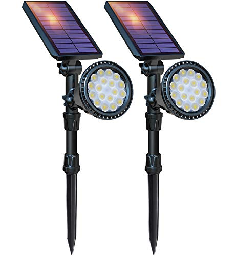 DBF Solar Lights Outdoor, Upgraded 18 LED Waterproof Solar Spotlights Solar Landscape Lights Adjustable Auto On/Off Wall Security Lighting for Garden Yard Pathway Driveway Pool, Pack of 2 (Cool White)