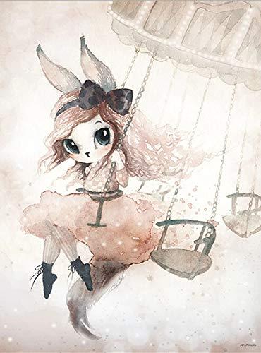 JHGJHK Cálido y Dulce decoración del hogar Conejo niña Pintura al óleo niña Dormitorio decoración Pintura (Imagen 6)