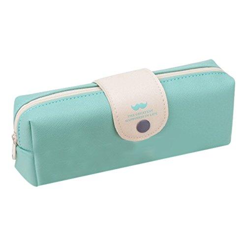 zhouba estudiante lindo cremallera Clousure bolsa de lápiz caso lápiz borrador Holder Papelería Bolsa de almacenamiento aldaba para candados, color azul claro talla única