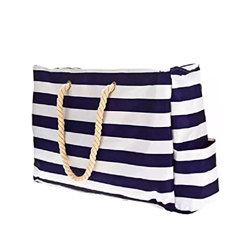 Bolsa de playa grande y bolsa de piscina, 22 x 15 pulgadas, asas de cuerda con cremallera, bolsas de hombro de lona, bolsas de playa de paja para mujeres grandes