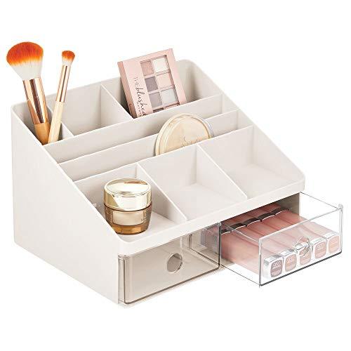 mDesign Organizador de maquillaje – Caja para cosméticos con 2 cajones y 8 compartimentos – Cajas para guardar maquillaje en plástico para el baño y otras habitaciones – crema/transparente