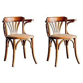 Chaise de Salle à Manger -Ensemble 2 tabourets Cuisine pour Le Petit-déjeuner Bois Massif (Bouleau) Home Design Coffee…