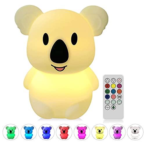 NYFEA luz Nocturna Infantil Silicona, Lámpara Infantiles Bebé luz de la Noche USB Regargable, 8 Colores de Respiración Tap Control sensible (Clase de eficiencia energética A++)